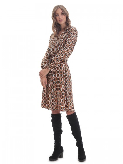 Φόρεμα σεμιζιέ καμηλό γεωμετρικά
