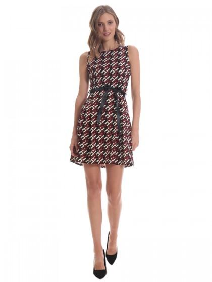 Φόρεμα αμάνικο γεωμετρικά μπορντό
