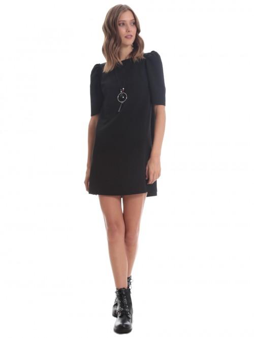 Φόρεμα μίνι κρεπ σούρα ώμοι