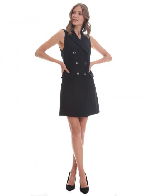 Φόρεμα γιλέκο μαύρο σταυρωτό