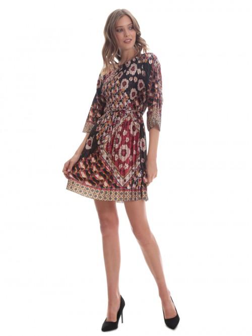 Φόρεμα πλισέ σατέν μπορντό λουλούδια