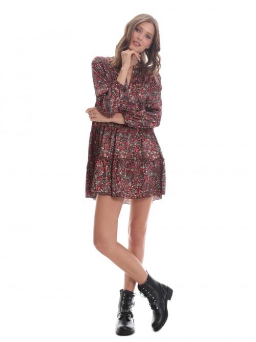 Φόρεμα ριχτό εμπριμέ σατέν βολάν