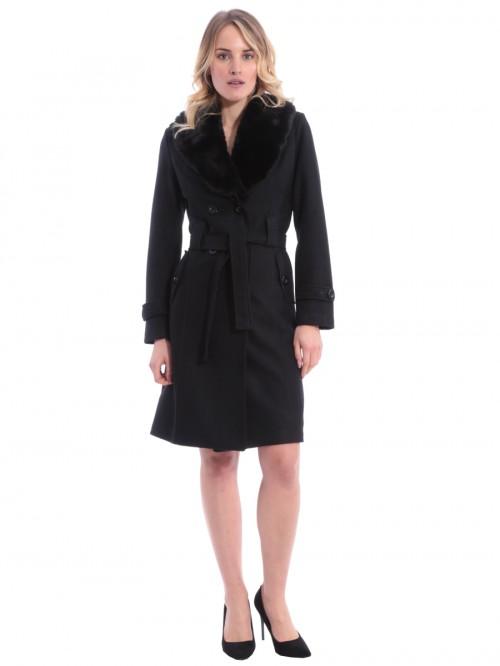 Παλτό μακρύ μαύρο γούνα γιακάς