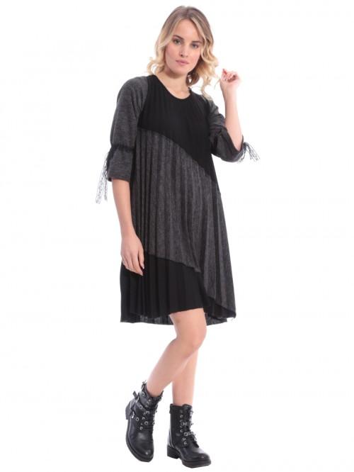 Φόρεμα πλισέ γκρι-μαύρο