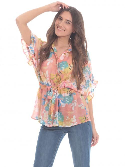 Μπλούζα floral με ζώνη