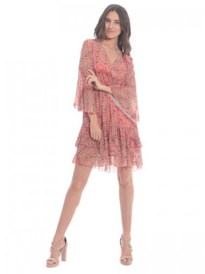 Φόρεμα Liberty κοραλί βολάν