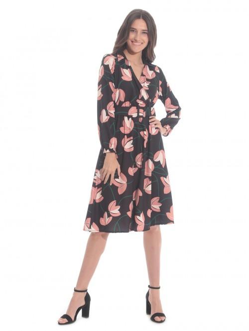 Φόρεμα μαύρο κρουαζέ ζώνη