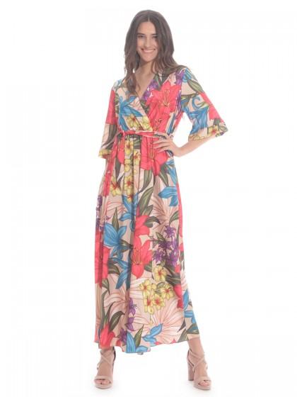Φόρεμα μάξι κρουαζέ λουλούδια