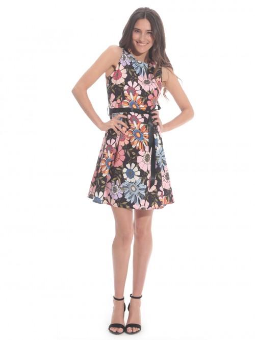 Φόρεμα αμάνικο λουλούδια πιέτες