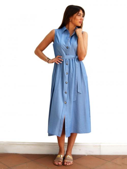 Φόρεμα μίντι τζιν με κουμπιά
