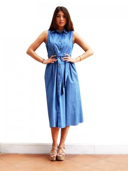 Φόρεμα μίντι ριγέ τζιν
