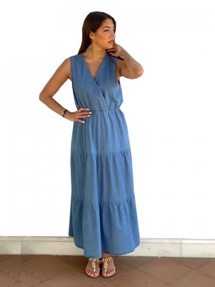 Φόρεμα μίντι τζιν κρουαζέ