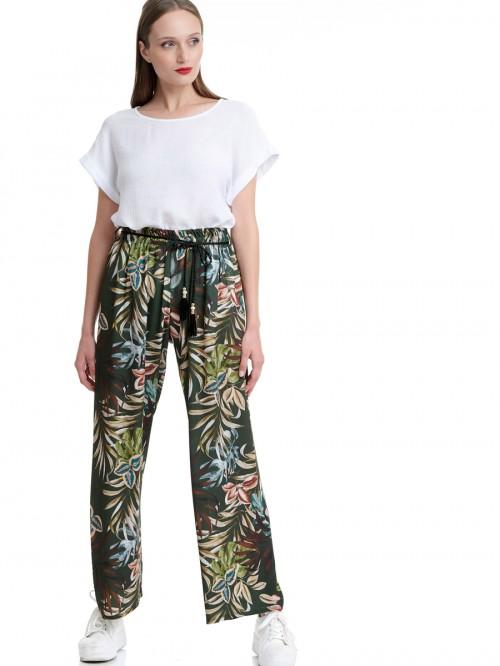 Παντελόνα με print φύλλα