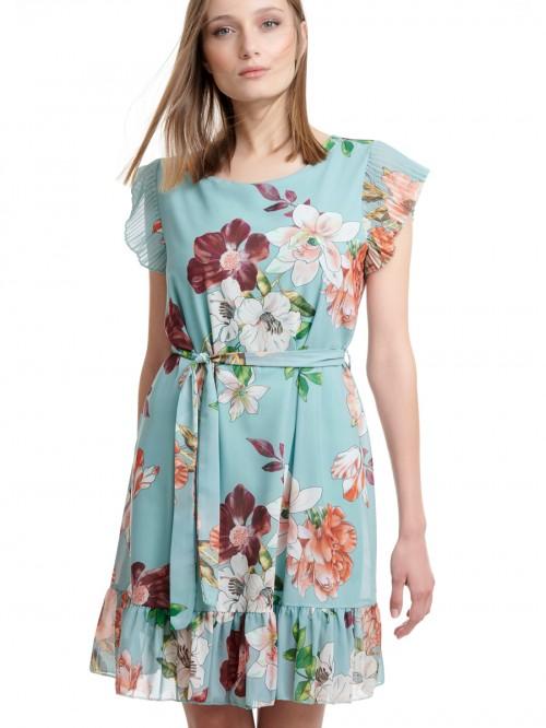 Φόρεμα mini floral με βολάν
