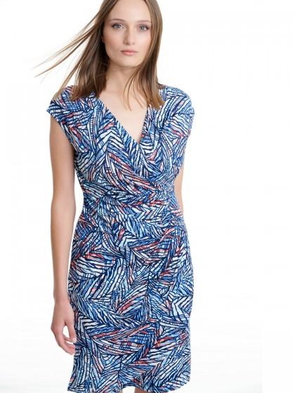 Φόρεμα κρουαζέ print φύλλα