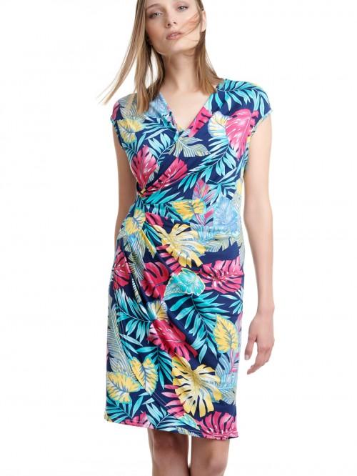 Φόρεμα κρουαζέ print φύλλα φούξια