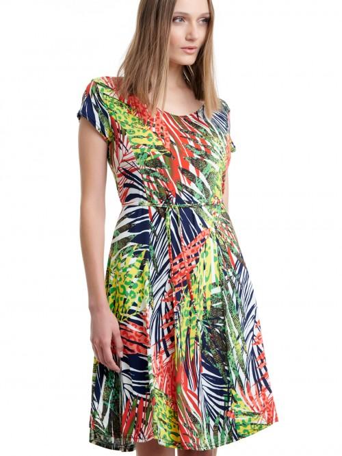 Φόρεμα ζέρσεϊ ραφές εμπριμέ