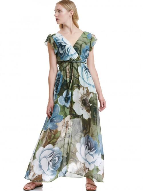 Φόρεμα μάξι κρουαζέ print λουλούδια