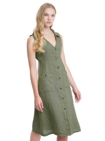 Φόρεμα λινό μίντι