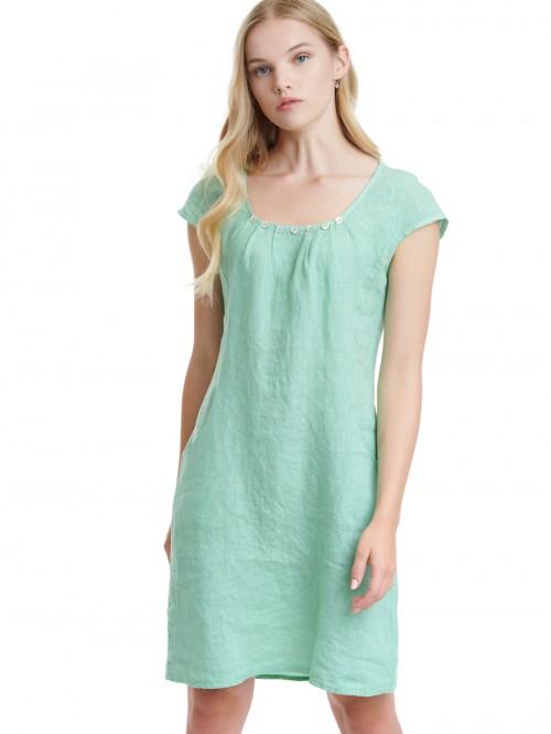 Φόρεμα λινό με διακοσμητικά κουμπιά