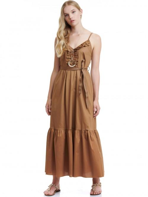 Φόρεμα μάξι ποπλίνα βολάν