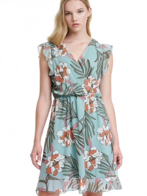 Φόρεμα λουλούδια κρουαζέ μουσελίνα