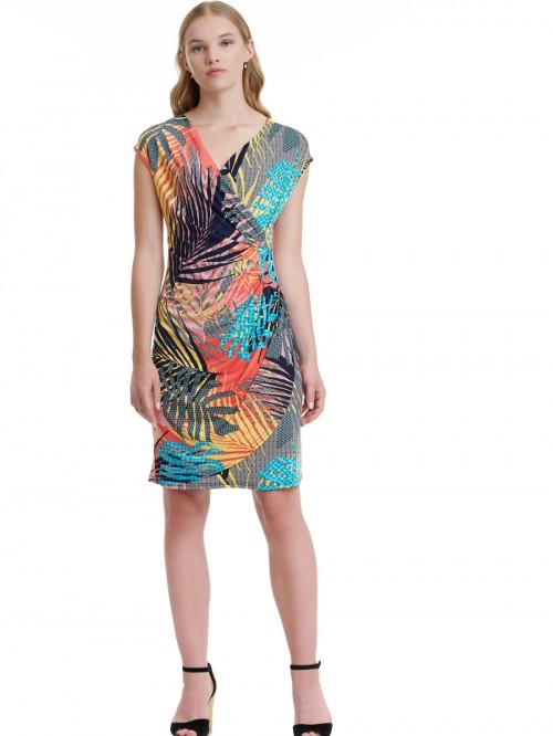 Φόρεμα κρουαζέ κοραλί φύλλα