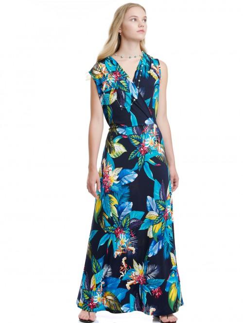 Φόρεμα μάξι μπλε φλοράλ
