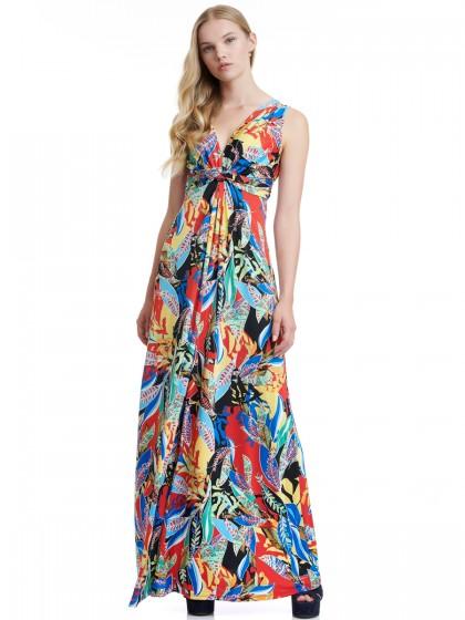 Φόρεμα μάξι φλοράλ ντραπέ ντεκολτέ