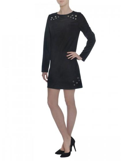 Φόρεμα σε γραμμή άλφα με διακοσμητικά τρουκ