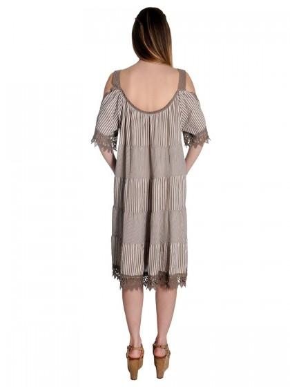 Φόρεμα ριγέ δαντέλα μανίκια