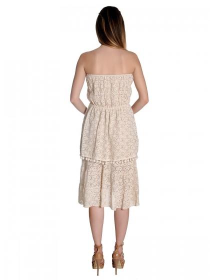 Φόρεμα στράπλες δαντέλα βολάν
