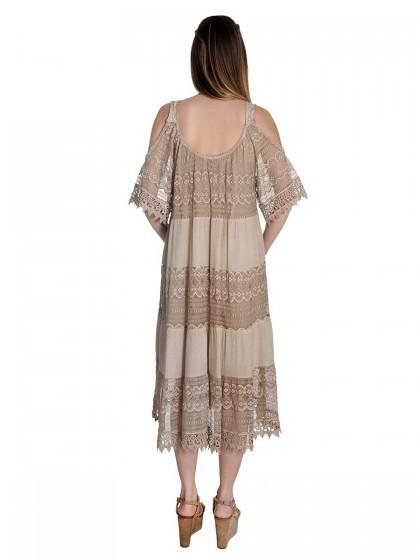Φόρεμα έξωμο δαντέλα-βουάλ