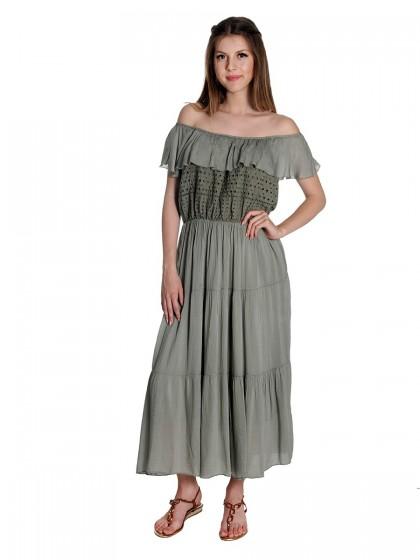 Φόρεμα βισκόζ -δαντέλα βολάν