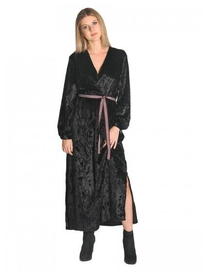 Φόρεμα maxi μαύρο βελούδο