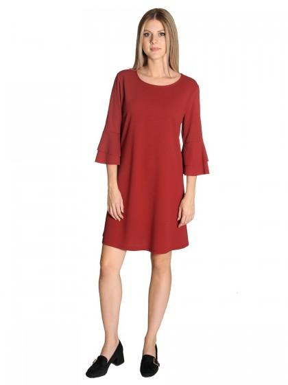 Φόρεμα κρεπ 2πλό βολάν