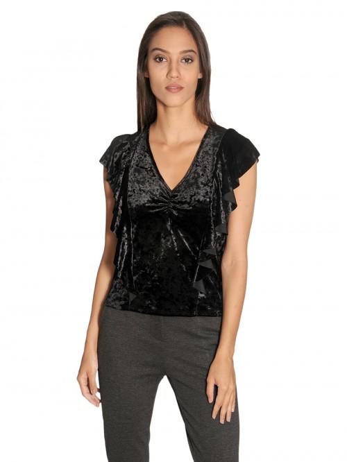 Μπλουζάκι μαύρο βελούδο V βολάν