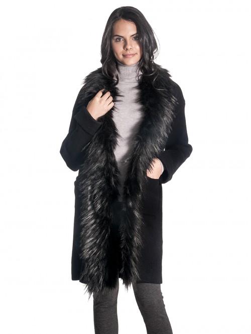 Ζακέτα μακριά μαύρη με γούνα