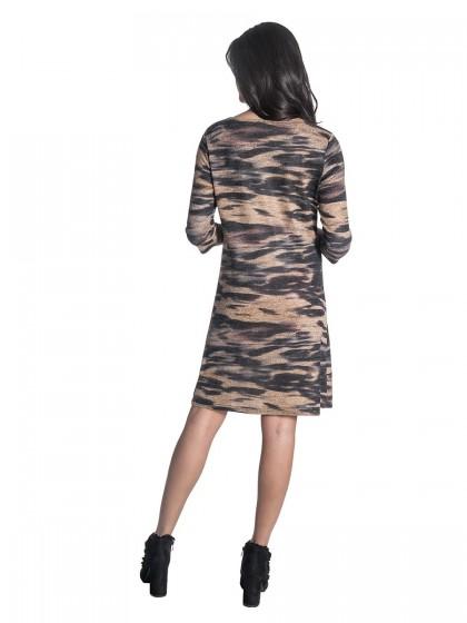 Φόρεμα καμηλό-γκρι πλεκτό