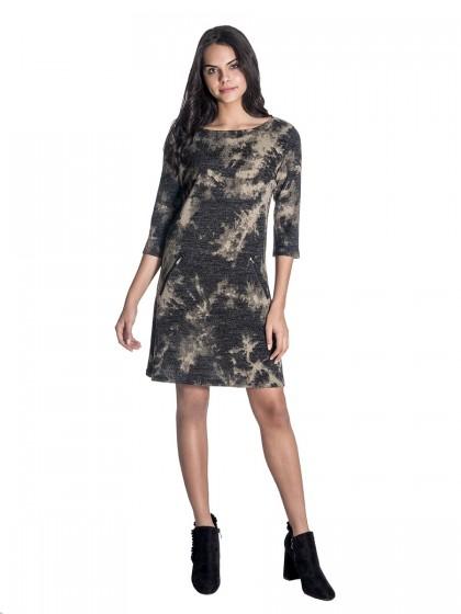 Φόρεμα χακί-γκρι πλεκτό