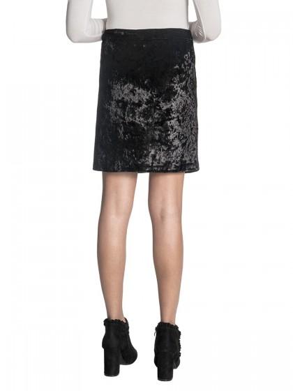Φούστα μαύρο βελούδο φερμουάρ