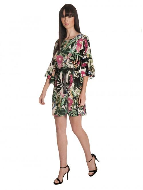 Φόρεμα tropical βολάν μανίκια