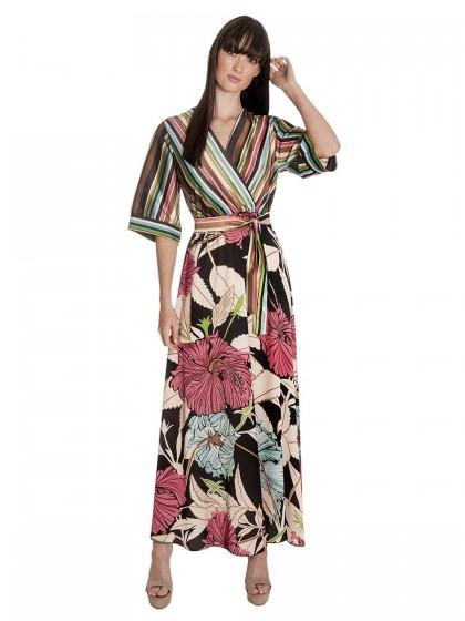 Φόρεμα μάξι ρίγες λουλούδια