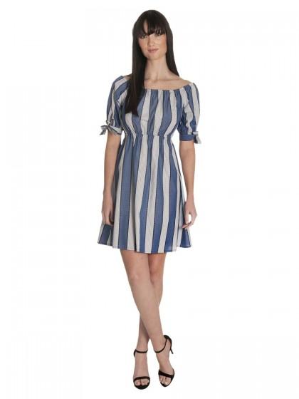 Φόρεμα μπλε ριγέ καθημερινό