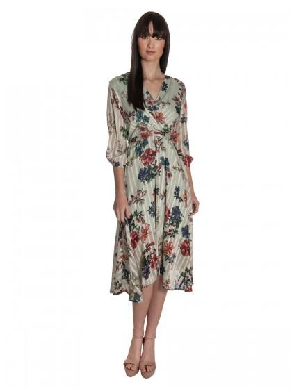 Φόρεμα floral μουσελίνα κρουαζέ