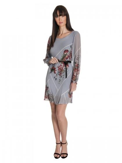 Φόρεμα πλισέ μακρυμάνικο