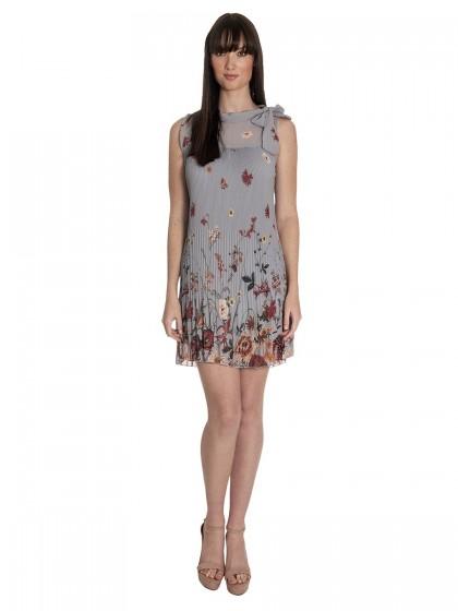 Φόρεμα πλισέ αμάνικο