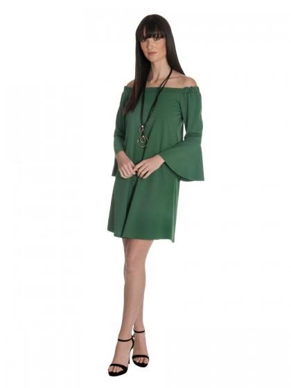 Φόρεμα κρεπ κολιέ λάστιχο ντεκολτέ