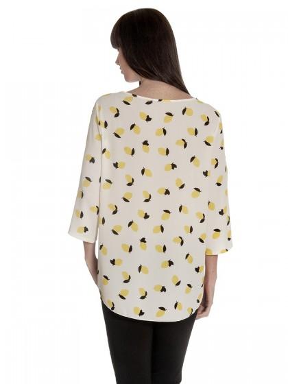 Μπλούζα κρεπ κίτρινο-μαύρο