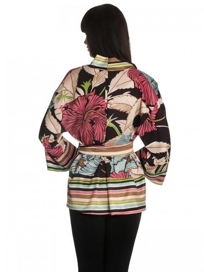 Ζακέτα-κιμονό σατέν λουλούδια